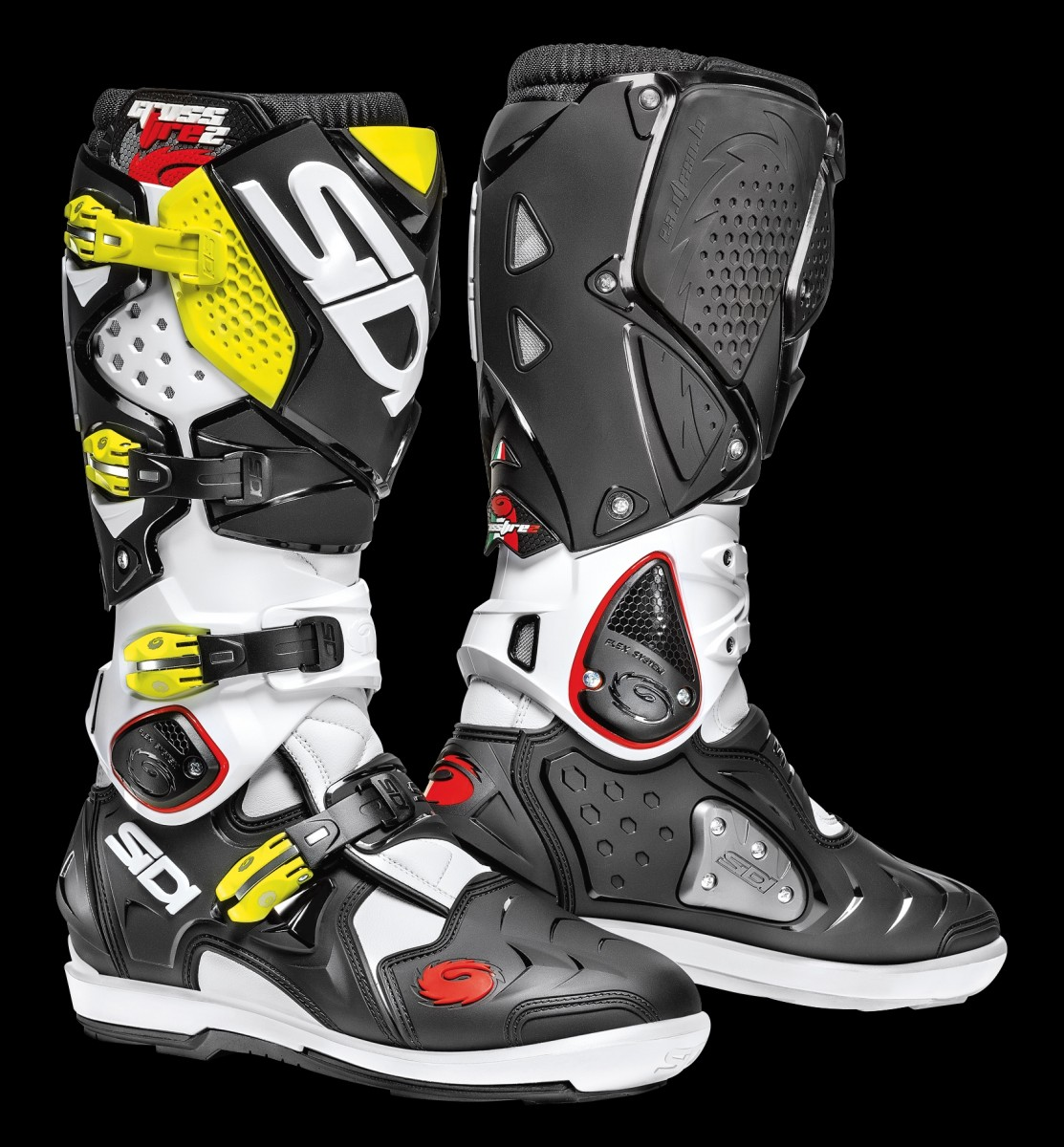 sidi off road boots crossfire 2 srs white black yellow fluo. Black Bedroom Furniture Sets. Home Design Ideas