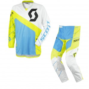 SCOTT COMPLETO CROSS 350 RACE 2016 MAGLIA+PANT. GREEN/BLUE