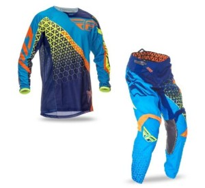 FLY COMPLETO OFFROAD KINETIC TRIFECA 2016 MAGLIA+PANT. BLUE/YELLOW FLUO/ORANGE