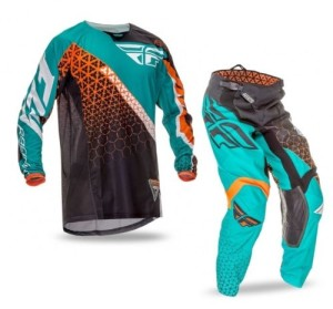 FLY COMPLETO OFFROAD KINETIC TRIFECA 2016 MAGLIA+PANT. BLACK/TEAL/ORANGE