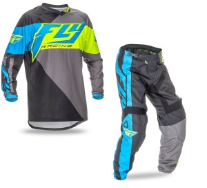 FLY COMPLETO OFFROAD F-16 2016 MAGLIA+PANT. BLACK/YELLOW FLUO/LIGHT BLUE FLUO