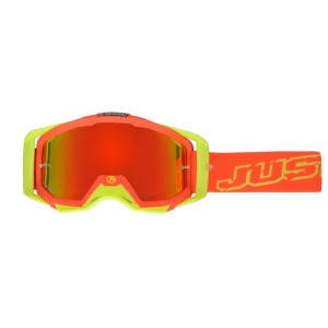JUST1 OCCHIALI OFF ROAD IRIS NEON RED-YELLOW MIRROR LENS
