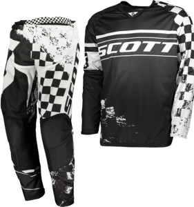 SCOTT BLACK/WHITE OFF ROAD 350 TRACK JERSEY+PANTS 2018