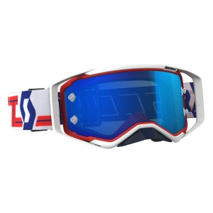 SCOTT OCCHIALI OFF ROAD PROSPECT RED/WHITE ELECTRIC BLUE CHROME WORKS