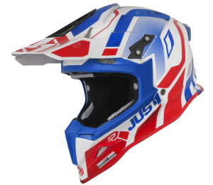 JUST1 RED/BLUE/WHITE GLOSS OFF ROAD J12 VECTOR HELMET