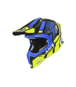 JUST1 FLUO YELLOW/BLUE/CARBON GLOSS OFF ROAD J12 VECTOR HELMET