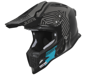 JUST1 CARBON-BLACK-TURQUOISE J12 SYNCRO HELMET