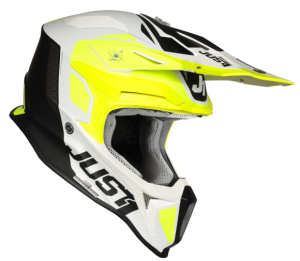 JUST1 J18 PULSAR FLUO YELLOW-WHITE-BLACK OFFROAD HELMET